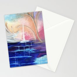Flourescent Waterfall Painting. Waterfall, Abstract, Blue, Pink. Water. Jodilynpaintings. Stationery Cards
