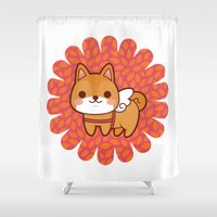 shiba inu Shower Curtains featuring Shiba wings by Azul Piñeiro