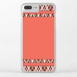 Coral, white ,black tartan. Clear iPhone Case