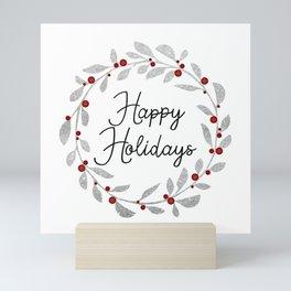 Happy Holidays - Silver Wreath Mini Art Print
