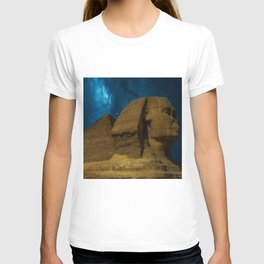 'Great Sphinx and Giza Egyptian Pyramids Of Giza' star-gazing landscape painting T-shirt