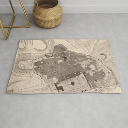 Vintage Map of Jerusalem Israel (1835) Rug