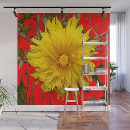 DECORATIVE  YELLOW DANDELION BLOSSOM ON ORGANIC RED ART Wall Mural