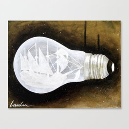 """Ship in a Lightbulb"" Canvas Print"