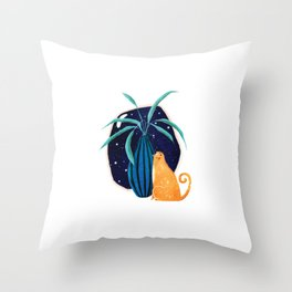 Galaxy Cat Plant in Space Throw Pillow
