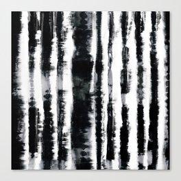 Tie-Dye Shibori Stripe BW Canvas Print