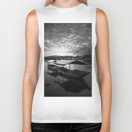 Boat on Water (Black and White) Biker Tank