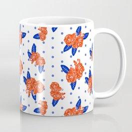 Florida fan gators university orange and blue team spirit football college sports florals dots Coffee Mug