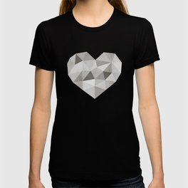 Fractal heart in shades of gray  T-shirt