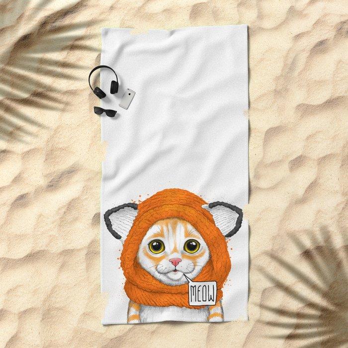kitten in fox cap Beach Towel
