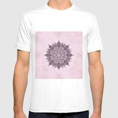 Pink Mandala Fractal Art White Mens Fitted Tee MEDIUM