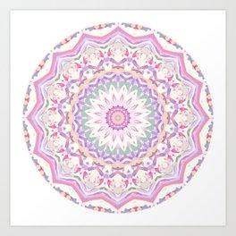 Calypso Mandala in Pastel Pink, Purple, Green, and White Art Print