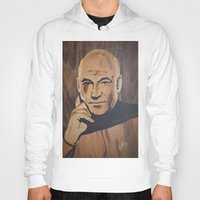 picard Hoodies featuring Jean-Luc Picard (Patrick Stewart)  by Andulino