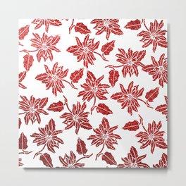 Modern red white faux glitter poinsettia elegant floral Metal Print