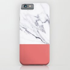 White Marble Pink Coral Stripe iPhone 6s Slim Case
