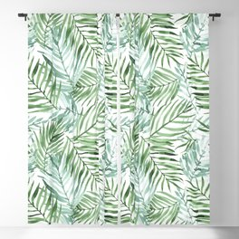 Watercolor palm leaves pattern Blackout Curtain
