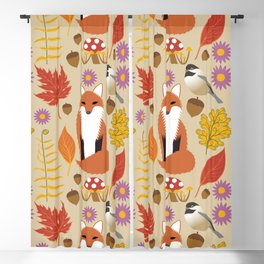 Autumn Fox and Forest Leaf Blackout Curtain