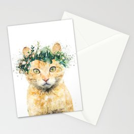 Boho Watercolor Cat, Cat Lady, Plant Lady, Funny cute Cat, home decor, nursery animal wall art Stationery Cards