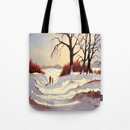 Sledding At Christmas Time Tote Bag
