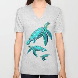 Sea Turtle Turquoise Oceanlife Unisex V-Neck