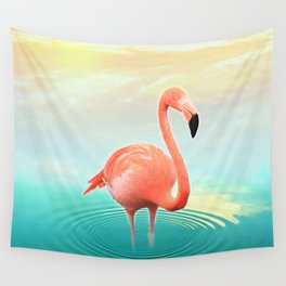 Sunset Flamingo Wall Tapestry