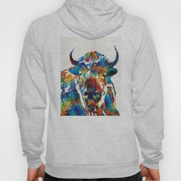 Colorful Buffalo Art - Sacred - By Sharon Cummings Hoody