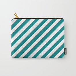 Diagonal Stripes (Teal/White) Carry-All Pouch