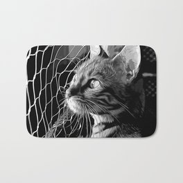 bengal cat yearns for freedom vector art black white Bath Mat