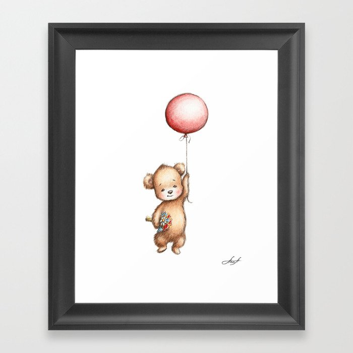 The Drawing Of Teddy Bear With Red Balloon And Flowers Framed Art Print By Annaabramskaya
