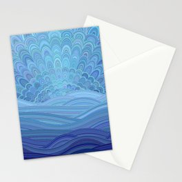 Blue Mandala Sunset at the Ocean Stationery Cards