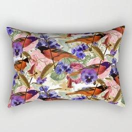 Floral Birds Pattern Rectangular Pillow