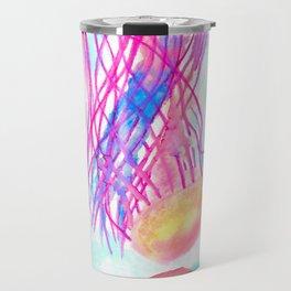 Watercolor Neon Jellyfish Travel Mug