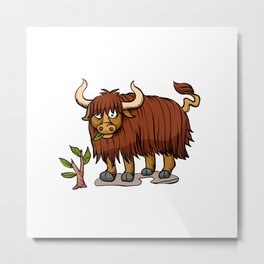 yak eating plant. Metal Print