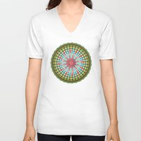 health V-neck T-shirts featuring Health Mandala - מנדלה בריאות by dotan yiloz