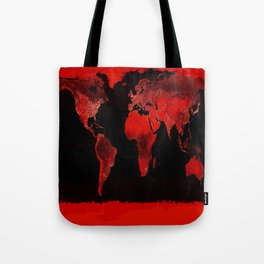 WORLD map : Red Tote Bag