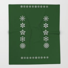Five Diverse Snowflakes in a Row on a Green Background Throw Blanket