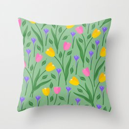 Tulips & Crocuses sage green pattern Throw Pillow
