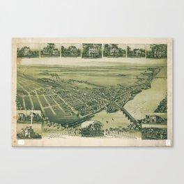Aerial View of Morrisville, Pennsylvania (1893) Canvas Print