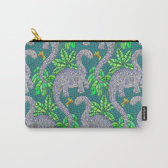 Mosaic Dinosaurs and Hummingbirds Carry-All Pouch
