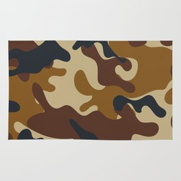 Brown Army Camo Camouflage Pattern Rug