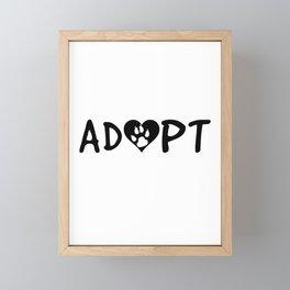 ADOPT Pawprint Cute Dog Cat Pet Shelter Rescue Framed Mini Art Print