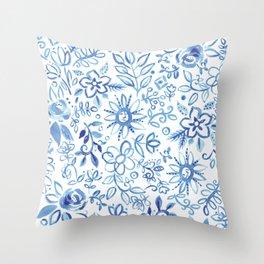 Blue Delft Throw Pillow