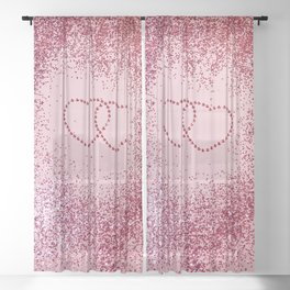 In Love Sparkling Glitter Hearts #2 #red #decor #art #society6 Sheer Curtain