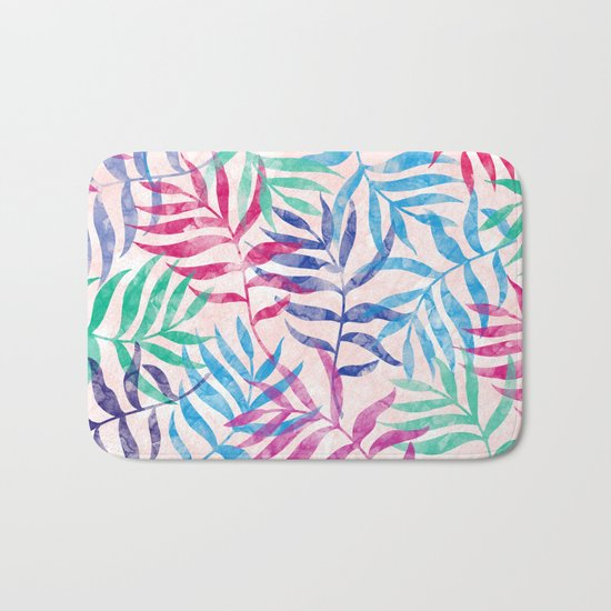 Watercolor Tropical Palm Leaves Bath Mat