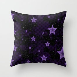 Purple Neon Stars Throw Pillow