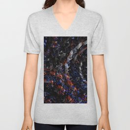 circles, rotation, red, blue, swirling, spiral, shapea Unisex V-Neck