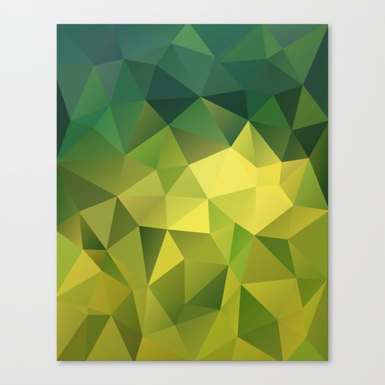 Abstract of triangles polygon in green yellow lime colors Canvas Print