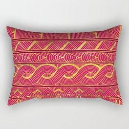 Gold Ethnic Pattern on Deep Pink Rectangular Pillow