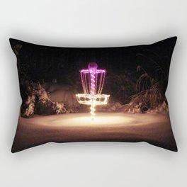 Disc Golf Basket in the Snow....a little night golf Rectangular Pillow