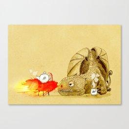Dragon making Tea Canvas Print